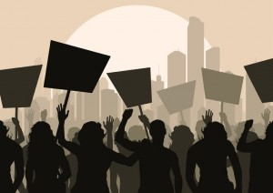 11058924 - protesters crowd landscape background illustration
