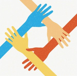 10988017 - hands teamwork. connecting concept. vector illustration